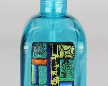 Soap dispenser, Mosaic fused glass, Recycled Bottle