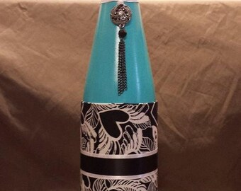 Recycled Wine Bottle with Black Pendant