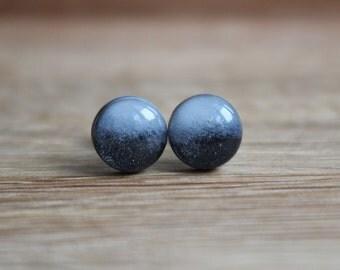 Black Stud Earrings. FADED BLACK STUDS. Surgical Steel Posts.