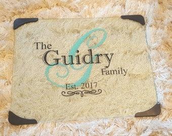 Family cutting board, personalized cutting board, glass cutting board