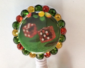 Dice Gambling Casino Decorative Badge Holder With Charms/Beads