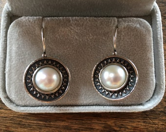 Sterling and White Pearl Pierced Earrings - Signed