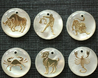 12 Constellations , Shell sign, natural mother of pearl shell, hand carved Constellations
