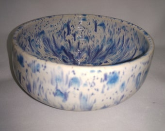 bowl with white and blue glaze