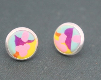 Earrings Polymer Clay Studs Abstract