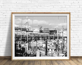"black and white photography, large art, printable art, instant download art, san francisco, california, bay, wharf - ""Fishermans Grotto"""