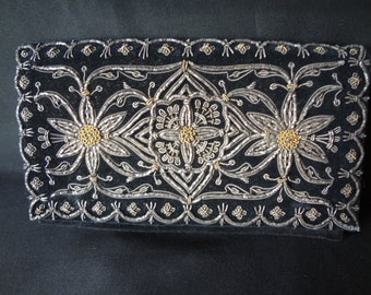 Vintage Black Velour Clutch Purse