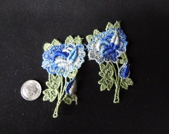 Two Sew- On Appliques 60's Blue Flowers