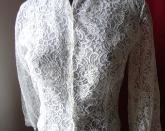 60's Vintage White Lace Cotton/Poly Blend Blouse