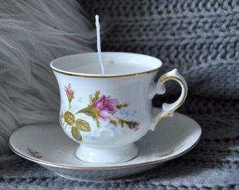 Vintage Teacup with candle