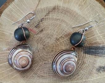 Gastropod shell hanging ear rings