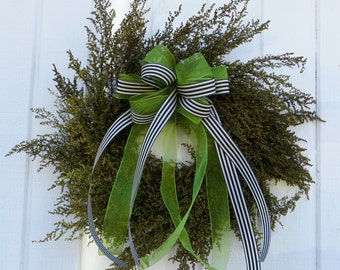 Sweet Annie Wreath, Dried Flower Wreath, Green Wreath, All Natural Wreath, Herb Wreath, Cottage Style Wreath, Dried Floral Wreath