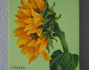Original acrylic on canvas painting. Sunflower painting. Sunflower acrylic. Original sunflower art. Acrylic floral painting. Wrapped canvas