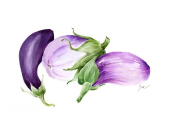 eggplant art print, vegetable print, vegetable art, watercolor vegetable, watercolor print, eggplant print, watercolor eggplant, Giclée art