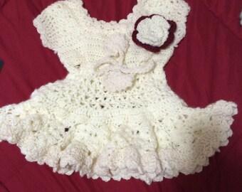 Handmade Crochet White Dress for Baby Girl