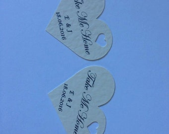50 Heart shaped wedding favour  Take me Home tags