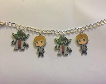 Star Wars Yoda and Luke Skywalker Charm Bracelet