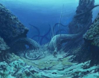 Deep below poster, Cthulhu poster, Old Gods art-print, Lovecraft art-print, Dark fantasy poster, Underwater monster poster