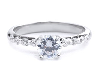 Simple Diamond Engagement Ring In 14K White Gold