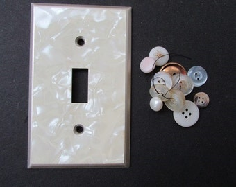 Faux Mother of Pearl Lightswitch Plate Vintage Mid Century Light Switch Plate