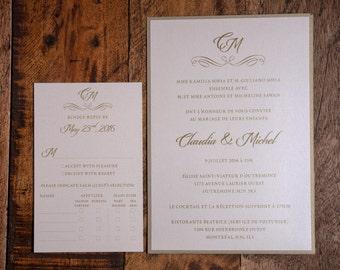 French Invitation, French Wedding Invitation, French Invitations, French Wedding Invitations, Classy Invitation, Classy Wedding Invitations