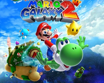 Super Mario Galaxy 2 Art Cover Poster (18 x 24 or 24 x 36)