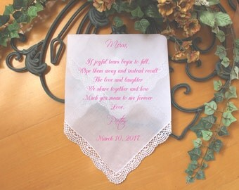 Mother of the Groom gift, Mother of the Bride handkerchief, PRINTED handkerchief, wedding keepsake idea mother of groom handkerchief