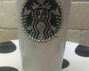 Rhinestone embellished Starbuck traveler mug 12 fl oz