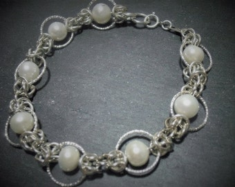 Freshwater Pearl and Sterling Silver Chainmaille Bracelet