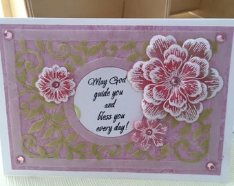 Beautiful vellum card with religious greeting and pretty 3D paper flowers - May God guide you - Bless you