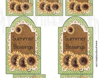 Summer Blessings Prim Printable - Immediate Download - Hang Digital diy Tags - 2 sizes - Sunflowers - BUY One Get THREE FRee PRiNTabLes!