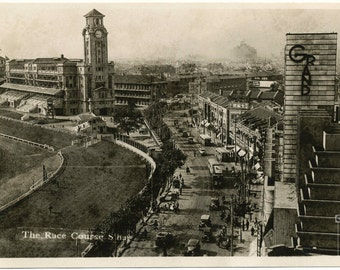 Vintage Postcard, Digital Download, Antique Postcard, 1930's, The Race Course, Shanghai, China
