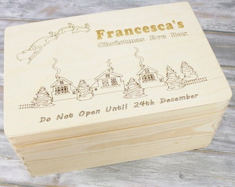 Personalised Christmas Eve Box | Engraved Wooden Box with Hinged Lid | Santa/Elf/Train Design