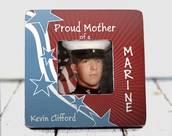 Marine USMC Mother of Marine Father Of Marine Military Family Proud Mother of A Marine Patriotic frame Red White And Blue gift custom TPFS