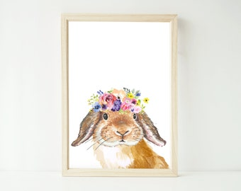 Printable instant digital download EXTRA LARGE A1 watercolour floral bunny rabbit artwork print watercolor