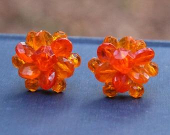 Vintage Orange Bead Cluster Earrings