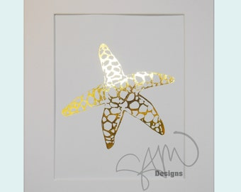Spotted Golden Starfish Shiny Metallic Gold Print 8x10