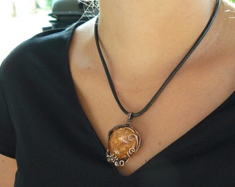 Pendant- Agate wrapped in copper