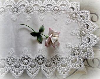 "27"" Table Runner White Lace Trim Doily Estate design"
