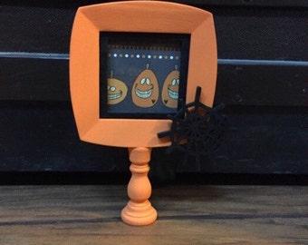 Halloween picture frame, orange and black photo frame, spider web frame, small halloween decor, halloween centerpiece, pedestal photo frame