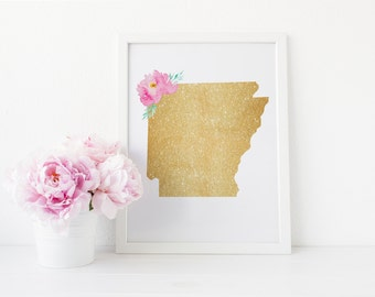 ARKANSAS floral watercolor, faux gold foil glitter, 8x10 print, 16x20 modern wall art, nursery decor, office decor, modern print, gold print
