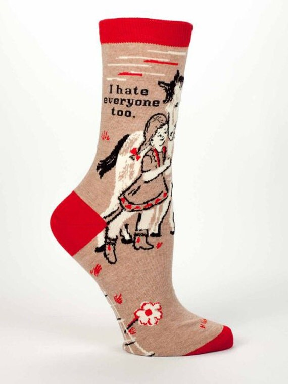 I Hate Everyone Too - Women's Crew Socks  -  Funny, Cool, Novelty Gifts, Socks, Christmas Gift