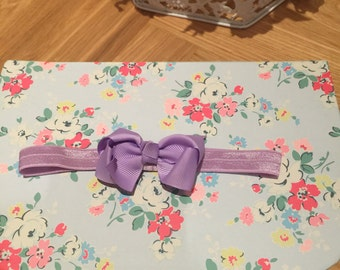 Lilac 7cm boutique bow on baby soft elastic headband