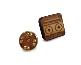 Wooden Tie Pin: Tape Recorder FREE WORLDWIDE SHIPPING
