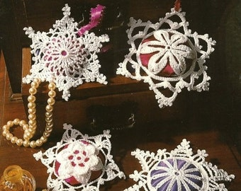 Snowflake Sachets, Annie's Attic Christmas Decoration Crochet Pattern Booklet 87S72