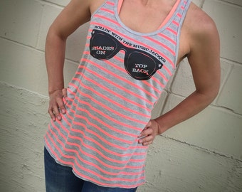 Cole Swindell Lyric Tank Top: Women's Striped Racerback Shades On Top Back