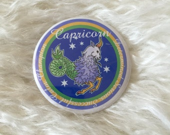 Vintage Capricorn astrology characteristics button / pin