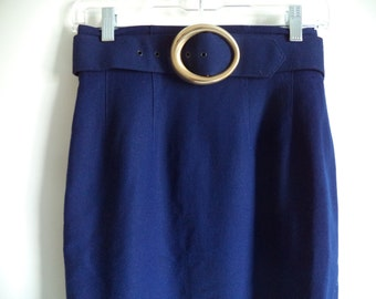 80's pencil high waist skirt// Vintage Ann Taylor USA belted lined wool// Mad men hipster office professional wear //Size 4 6 US 26W