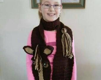 Crochet horse scarf adult child