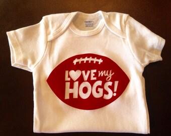 Arkansas Razorback Baby Onesie, Hogs Outfit,